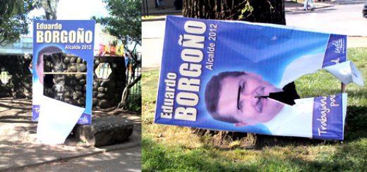 Candidato oficialista señaló estudia acciones legales para las personas que están destrozando sus afiches
