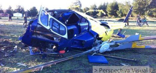 Helicóptero capotó luego de haber despegado de Aeródromo de María Dolores en Los Ángeles, dos lesionados