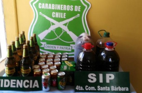 Carabineros de Santa Bárbara realizan decomiso de alcoholes por venta clandestina