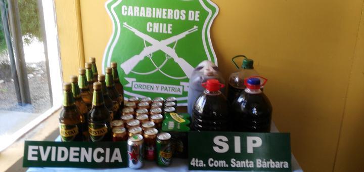 Carabineros Santa Bárbara / Decomiso Alcoholes